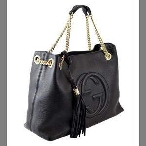 Gucci Bags - Gucci Soho Chain Strap Handbag Black Leather Tote